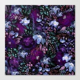 Deep Floral Chaos blue & violet Canvas Print