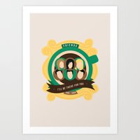 friends tv Art Prints featuring Friends Crest Design | TV by I'm Emma R