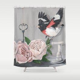 Rose-breasted Grosbeak Victorian Shower Curtain