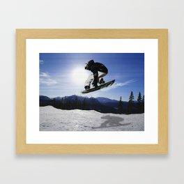 Born To Fly Snowboarder & Mountains Framed Art Print