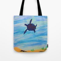 sea turtle Tote Bags featuring Turtle by Lissasdesigns