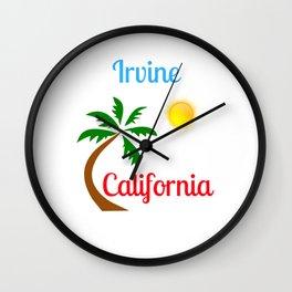 Irvine California Palm Tree and Sun Wall Clock