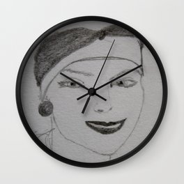 the woman in the beret Wall Clock
