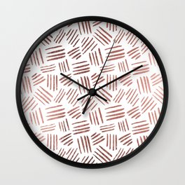 Elegant faux rose gold modern geometric stripes Wall Clock