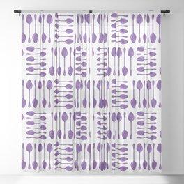 Purple Spoons Pattern Sheer Curtain