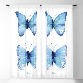 Two Blue Butterflies Watercolor Blackout Curtain