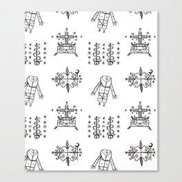Papa Legba + Baron Samedi + Gran Bwa + Damballah-Wedo Voodoo Veve Symbols in White Canvas Print