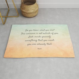 'Do You Know What You Are?' Inspiring Quote by Rumi Rug