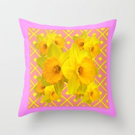 Pink Color Gold Daffodils on Coral Abstract Throw Pillow