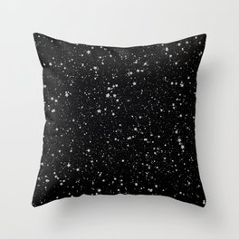 Glitter Stars2 - Silver Black Throw Pillow