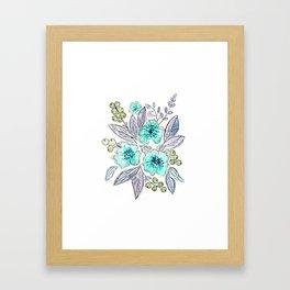 Floral watercolor pattern . Framed Art Print