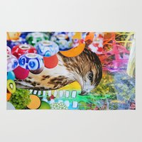 hawk Area & Throw Rugs featuring Psychedelic Hawk by John Turck