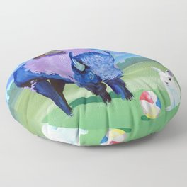 Beach Ball Bison Floor Pillow