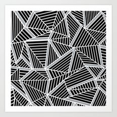 Ab lines Zoom Black and Silver Art Print