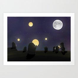 Lanterns, (The Unexpected Adventures: Moon Day) Art Print