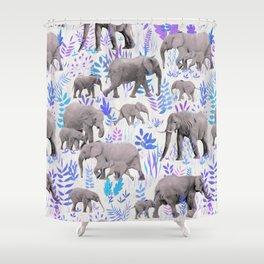 Sweet Elephants in Aqua, Purple, Cream and Grey Shower Curtain