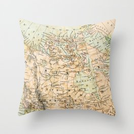 North America Vintage Map Throw Pillow