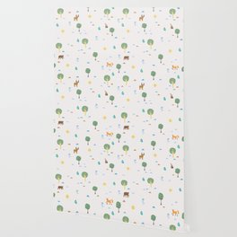 Seamless Summer Pattern with forest animals Wallpaper