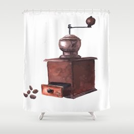 Vintage Coffee Mill Watercolor Shower Curtain
