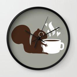 Squirrel Coffee Lover   Cute Woodland Animal Wall Clock