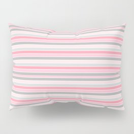 Gray and Pink Striped Pattern Pillow Sham
