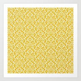 Art Nouveau Pattern Mustard Yellow Art Print