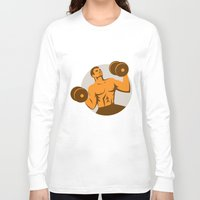 crossfit Long Sleeve T-shirts featuring Strongman Crossfit Lifting Dumbbells Circle Retro by patrimonio
