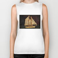 sailboat Biker Tanks featuring Rustic Sailboat by Michael P. Moriarty