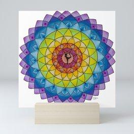 Rainbow Yoga Goddess Meditation Mandala Colored Pencil Illustration by Imaginarium Creative Studios Mini Art Print