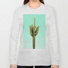 Cactus on Cyan Wall Long Sleeve T-shirt