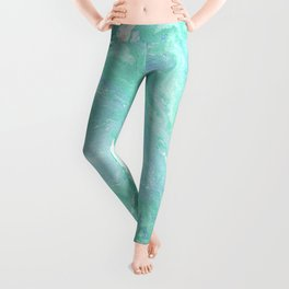 Marble texture background, white blue green marble pattern Leggings