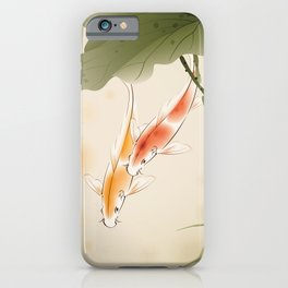 Koi fishes in lotus pond iPhone Case