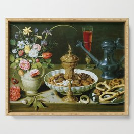 Clara Peeters Still Life with Flowers Goblet Dried Fruit & Pretzels Serving Tray