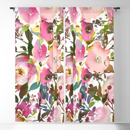 Pink coral forest green watercolor floral Blackout Curtain