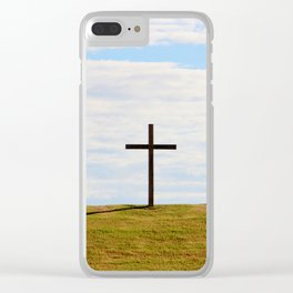 Cross On A Hill Clear iPhone Case
