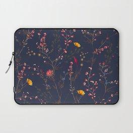 Wild Flowers Pattern Blue Background Laptop Sleeve