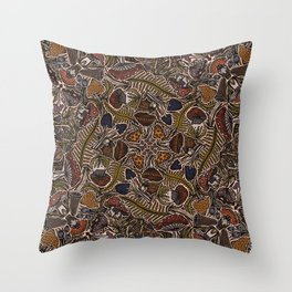Funghi & Fern Forest, Fall Colors , Foraging for Woodland Mushrooms Brown, Orange Purple Throw Pillow