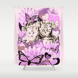 Frieda's Baby Cats in Pink Shower Curtain