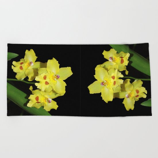 Glorious Golden Orchid - Odontonia Yellow Parade Alpine Beach Towel