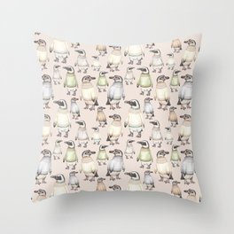 Penguins in sweaters Throw Pillow