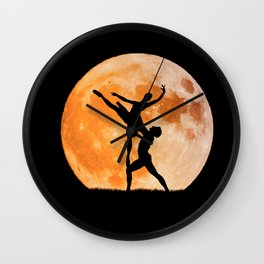 passion for dancing with the moon in the background Wall Clock
