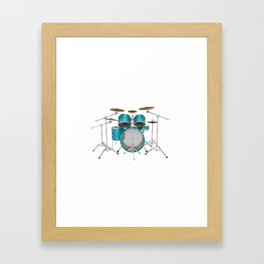 Green Drum Kit Framed Art Print