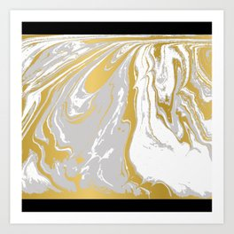 Gold And Grey Marble Art Print