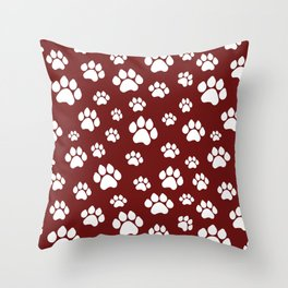 Puppy Prints on Maroon Throw Pillow