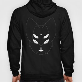 T-shirt with mystic 4-eyes angry cat. Ocult style. Minimal Hoody