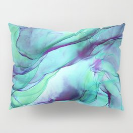 Violet Turquoise Flow - Alcohol Ink Painting Pillow Sham