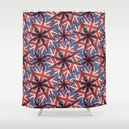 Heart Shaped England Flag Pattern Design Shower Curtain