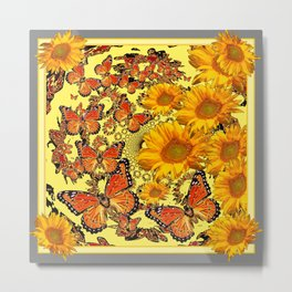 Butterfly & Sunflower Yellow Nature Patterns Metal Print