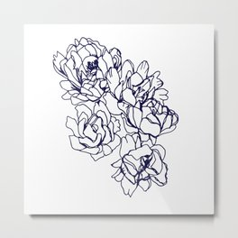 Floral Peon Navy Metal Print