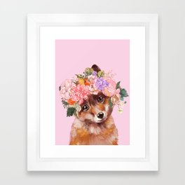 Baby fox with Flower Crown Framed Art Print